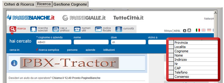 database pagine bianche